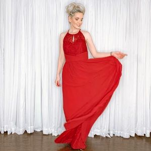 Jasmine Dresses - Red Lace and Chiffon Long Bridesmaid Prom Dress